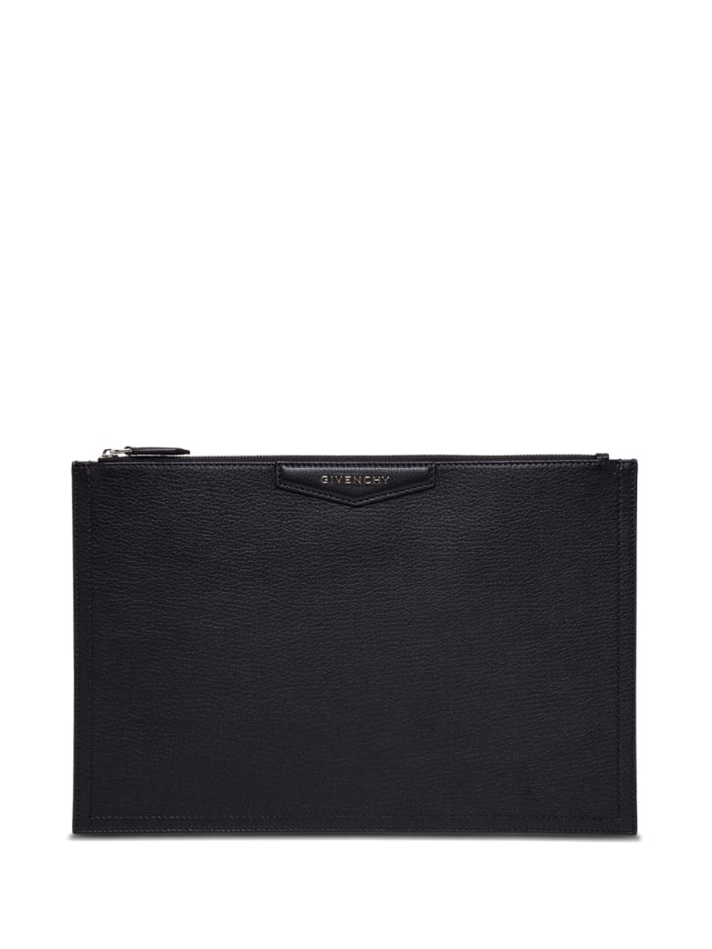 Givenchy Clutch In Black Hammered Leather - Black