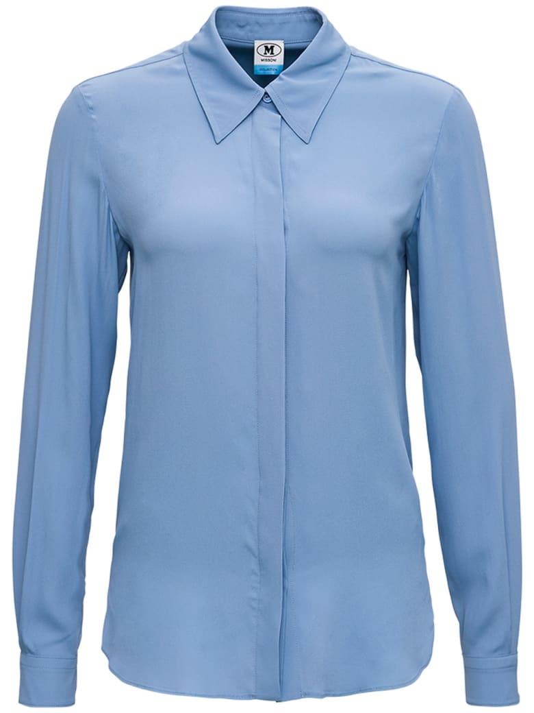 M Missoni Light Blue Shirt In Silk Blend - Blu