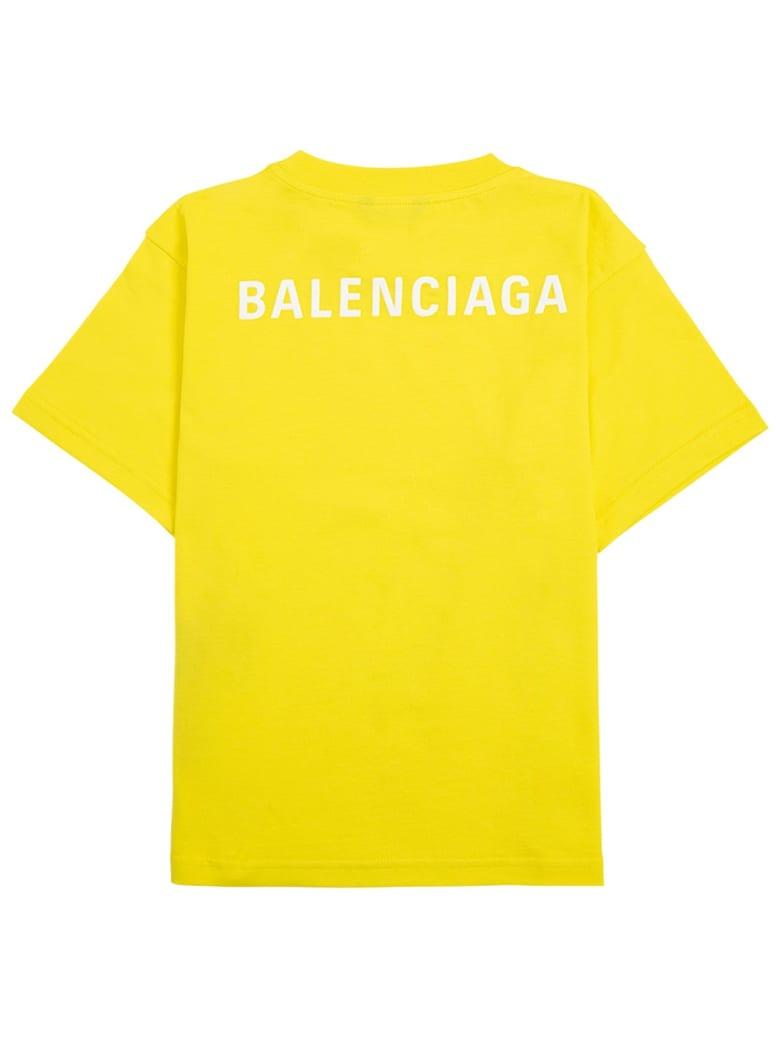 Balenciaga Yellow Cotton T-shirt With Logo Print - Yellow