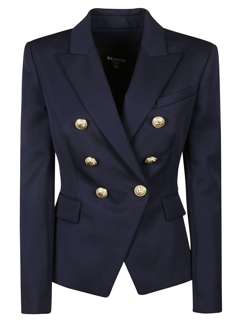 Balmain Regular Fit Plain Dinner Jacket - Blu