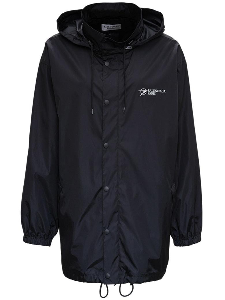 Balenciaga Black Raincoat With Logo Print - Black