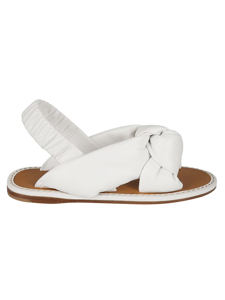Miu Miu Slingback Bow Sandals - White
