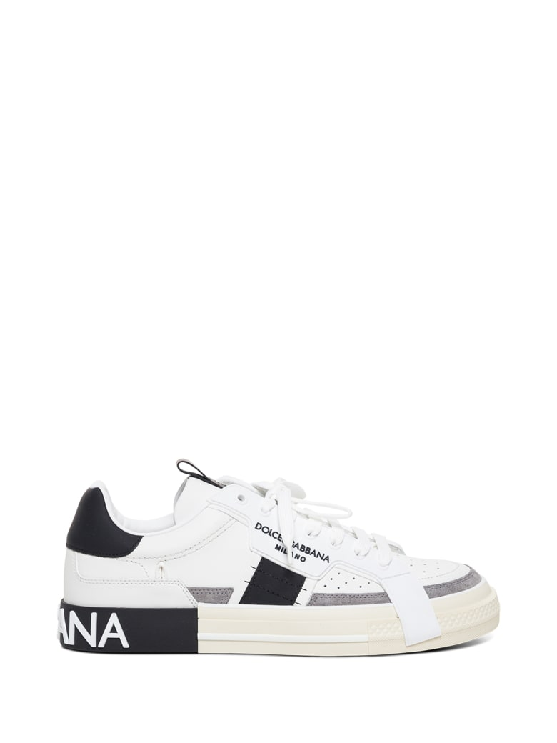Dolce & Gabbana Custom 2.0 Leather Sneakers With Logo - White