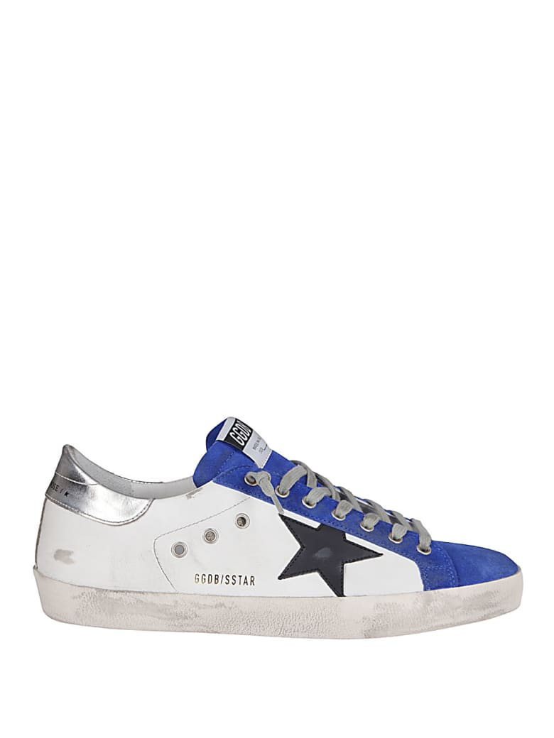 Golden Goose White Leather Super-star Sneakers - White/royal