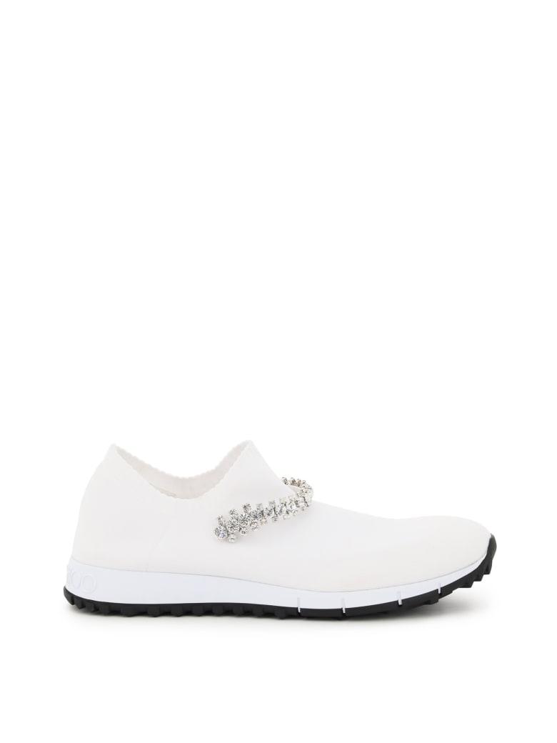 Jimmy Choo Verona Sock Sneakers Crystal Bracelet - WHITE CRYSTAL (White)