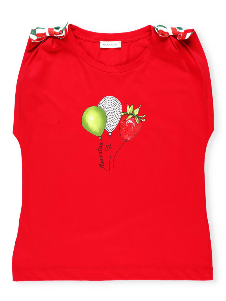 Monnalisa T-shirt With Tricolor Bows - Red