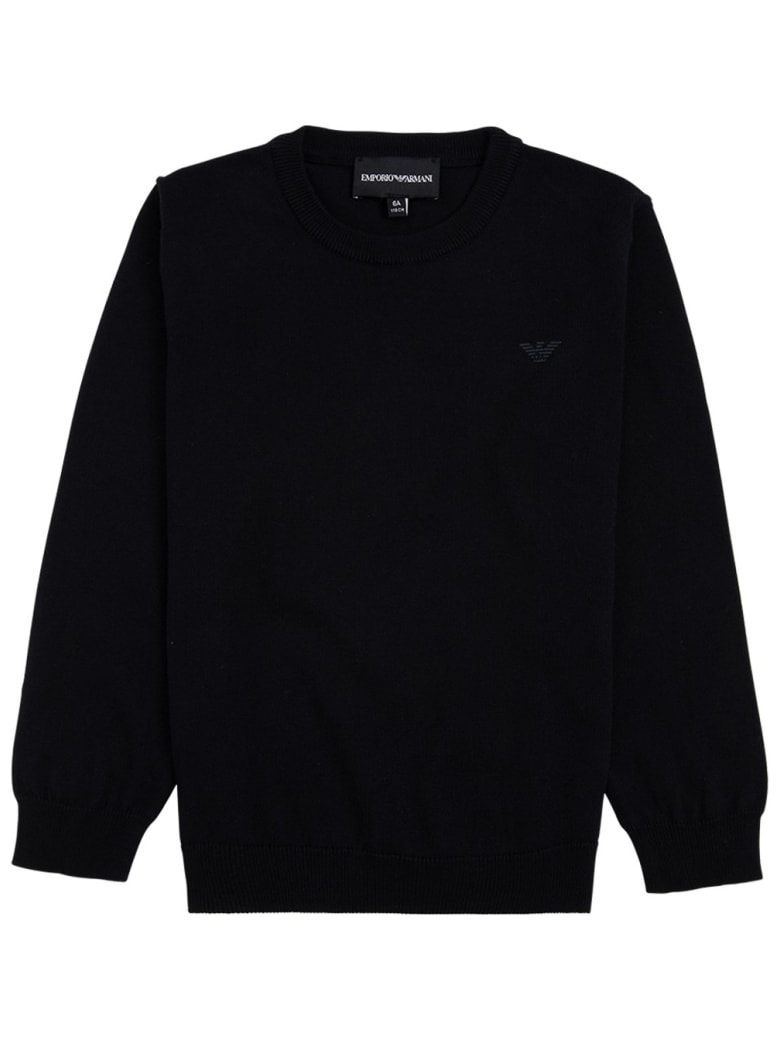 Emporio Armani Blue Cotton And Wool Sweater With Logo - Blu