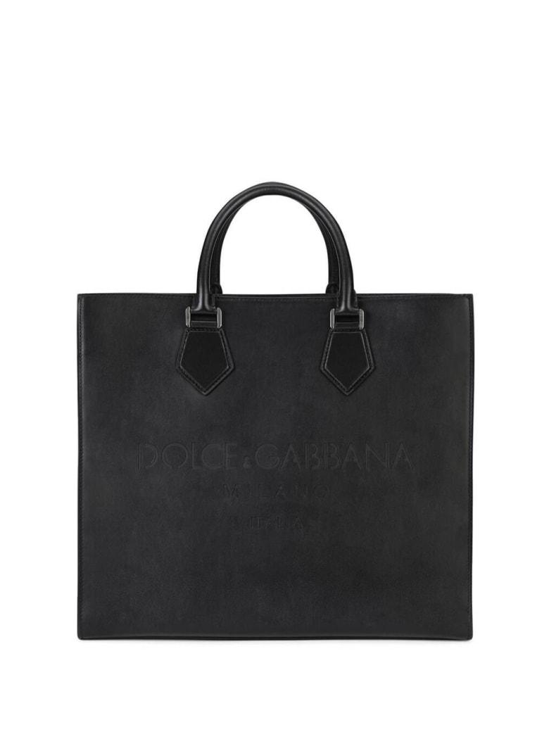 Dolce & Gabbana Palermo Handbag In Black Leather With Logo - Black