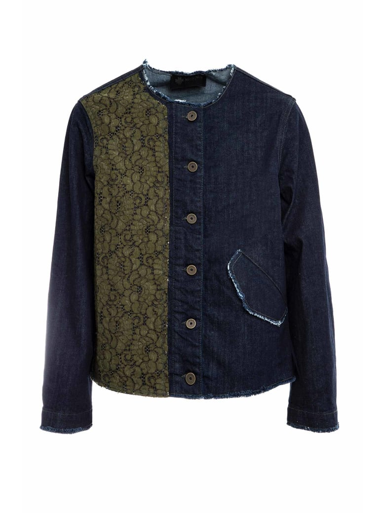 Mr & Mrs Italy Denim And Florealace Jacket For Woman - BLUE DENIM/ARMY
