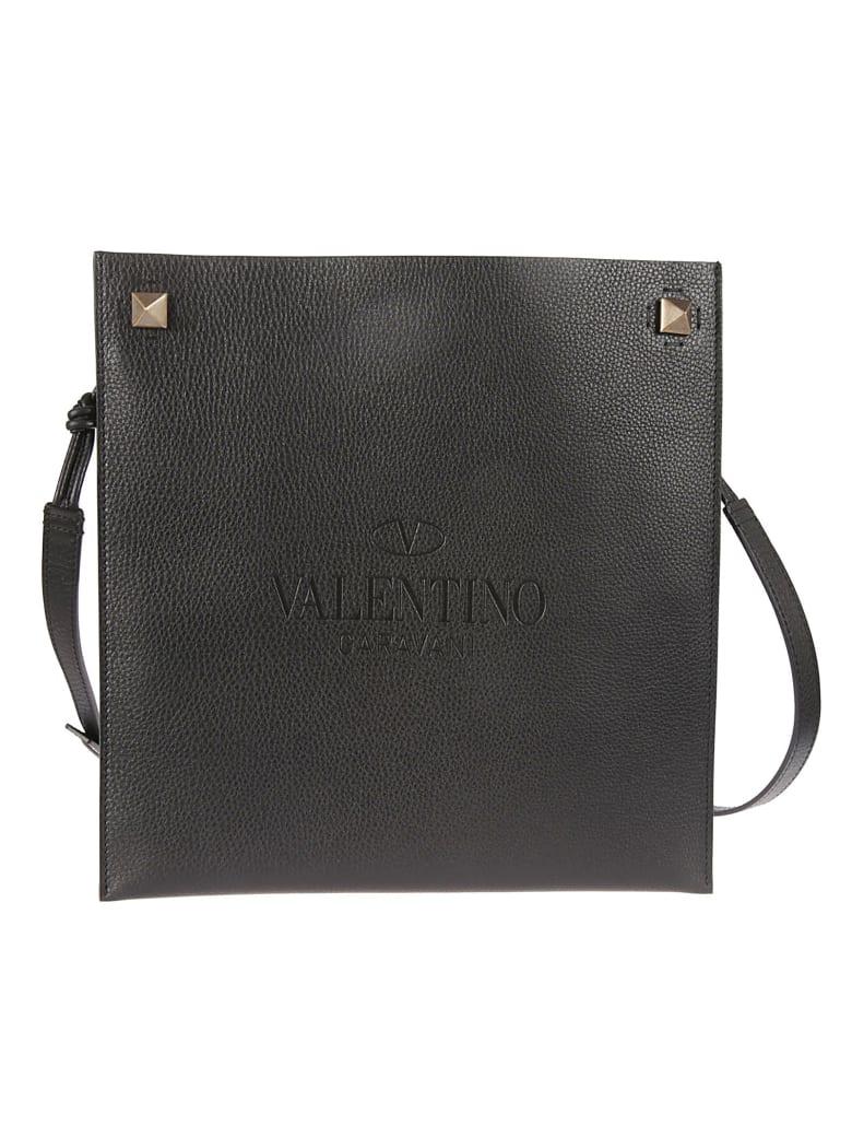 Valentino Garavani Engraved Logo Flat Shoulder Bag - Black
