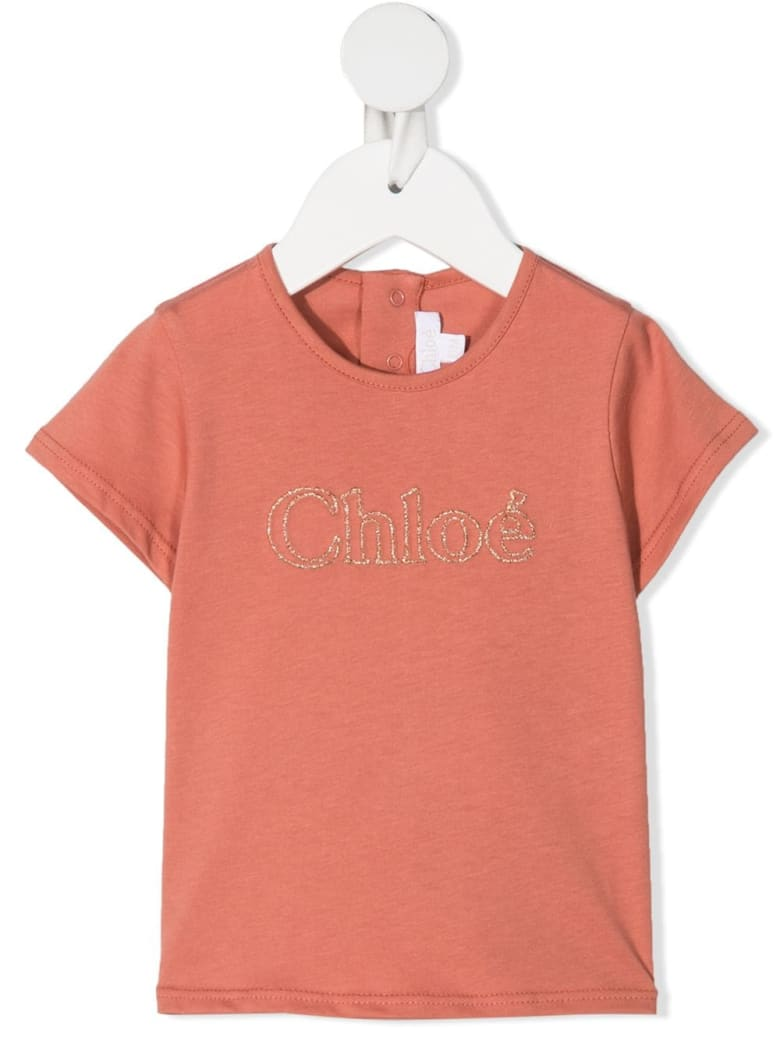 Chloé Crystal Embellished Logo T-shirt - Mattone