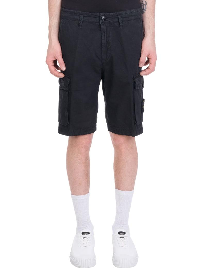 Stone Island Shorts In Black Cotton - black