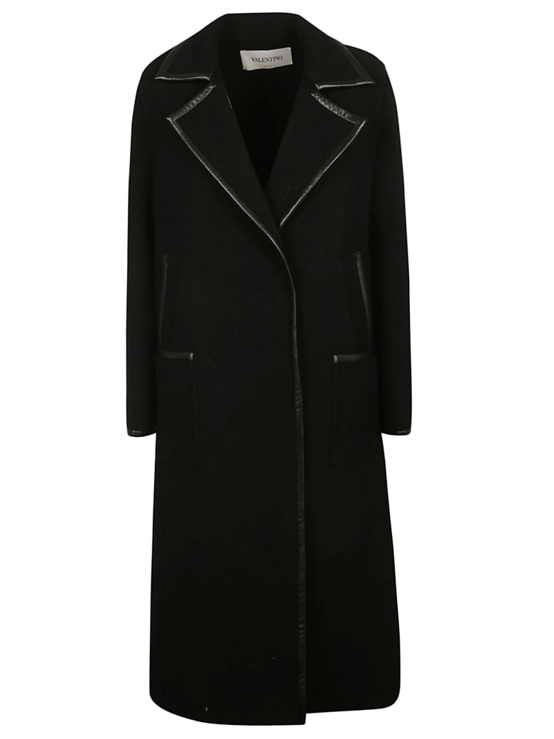 Valentino Buttoned Long Coat - Black