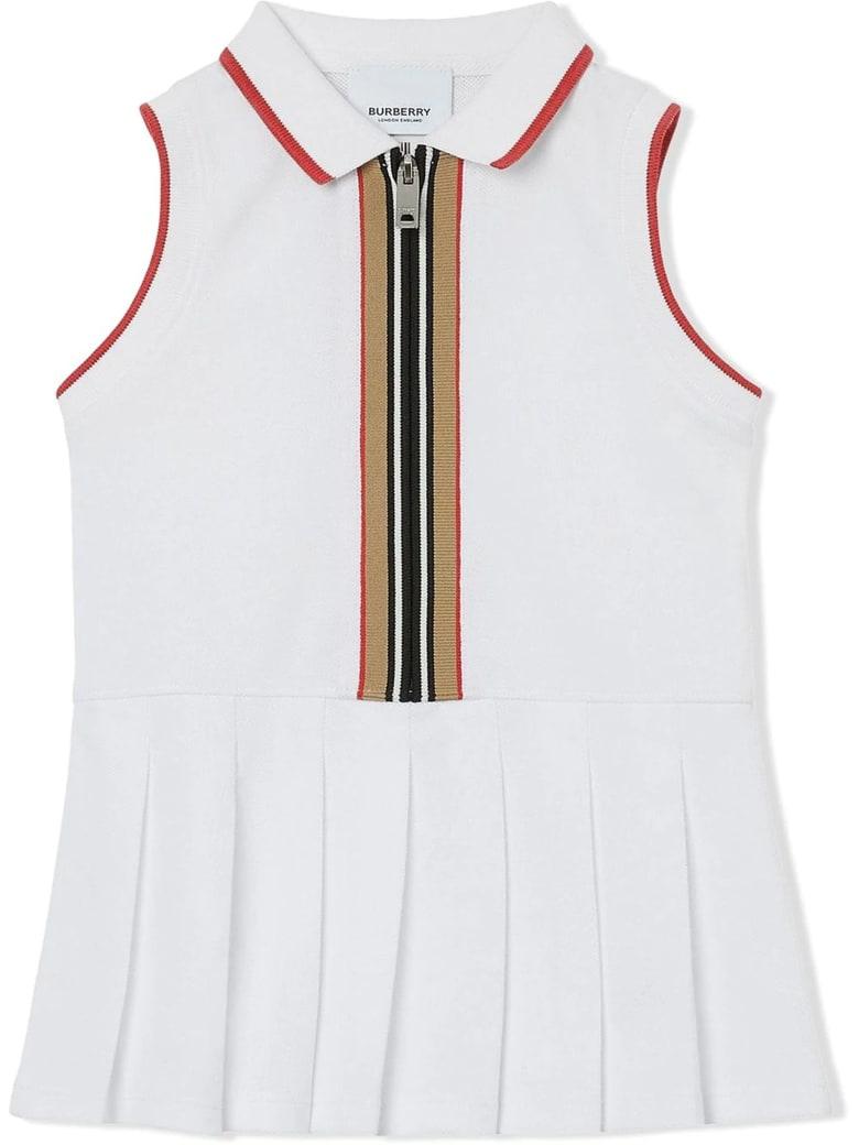 Burberry White Cotton Polo Dress - Bianco