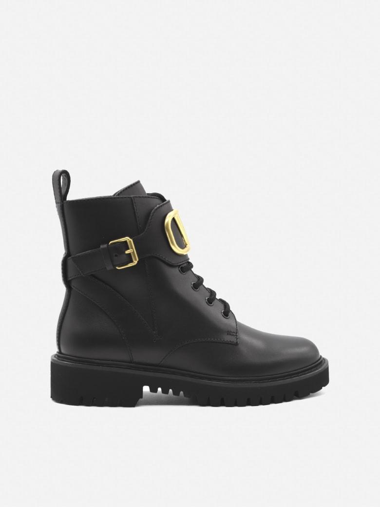 Valentino Garavani Vlogo Signature Leather Ankle Boots - Black