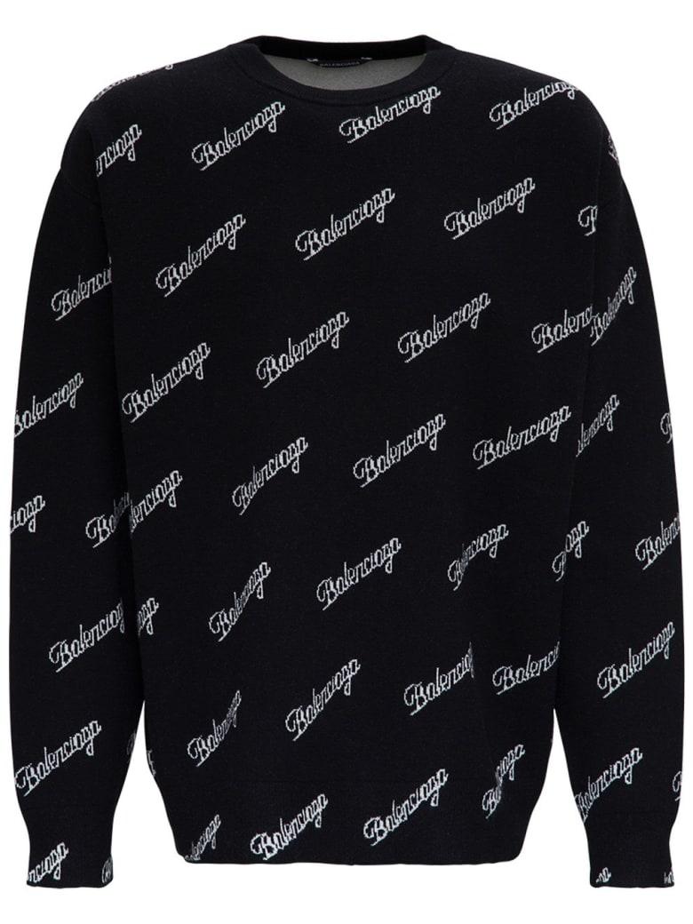 Balenciaga Wool Sweater With Allover Logo - Black