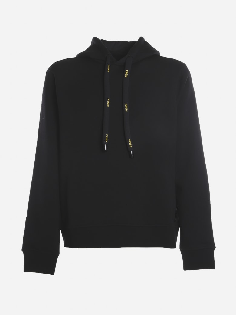 Fendi Cotton And Wool Blend Sweatshirt With Contrasting Logo Lettering - Black
