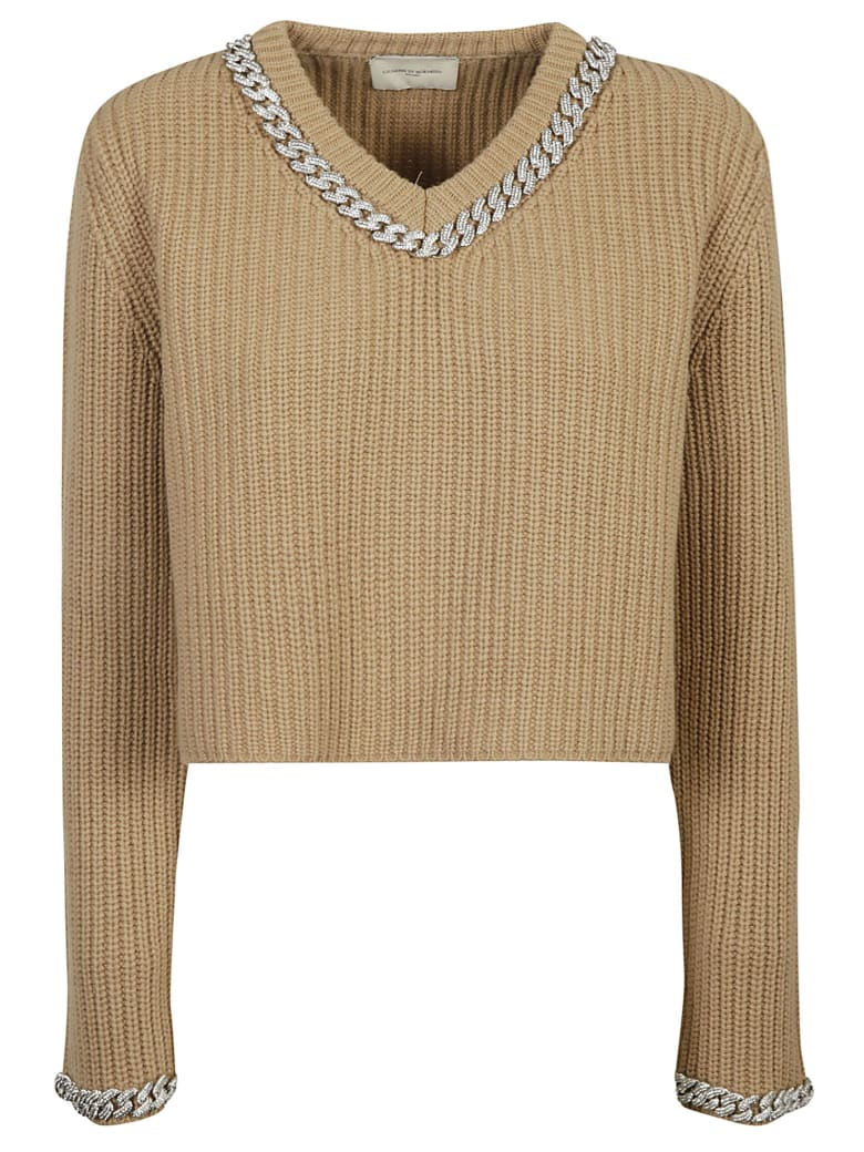 Giuseppe di Morabito Ribbed Knit Cropped Sweater - Beige