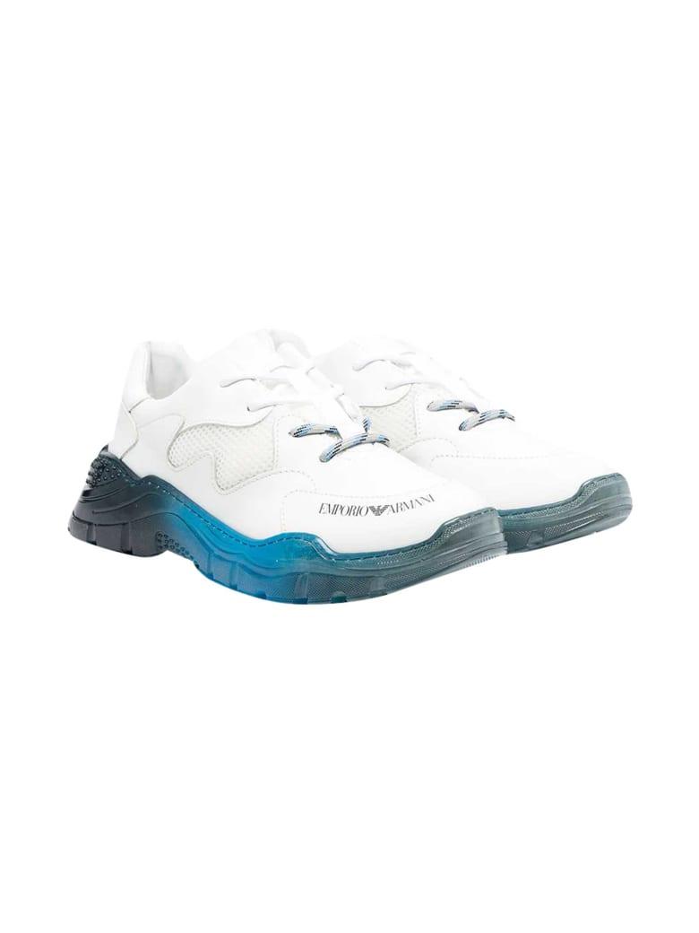 Emporio Armani Gradient Effect White Sneakers - Bianco