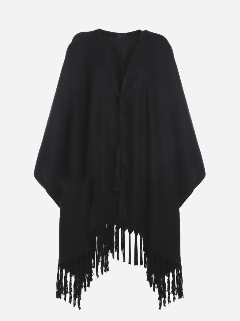Saint Laurent Cashmere Poncho With All-over Fringes - Black