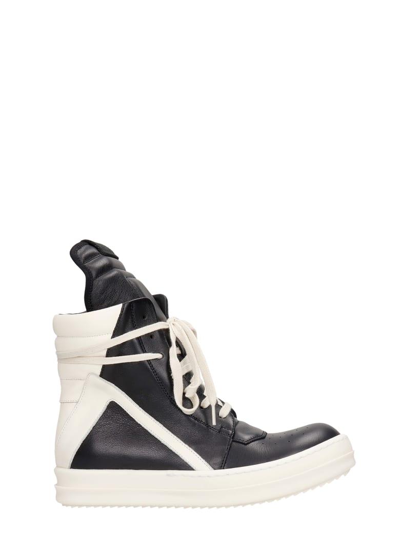 Rick Owens Geobasket  Sneakers In Black Leather - black