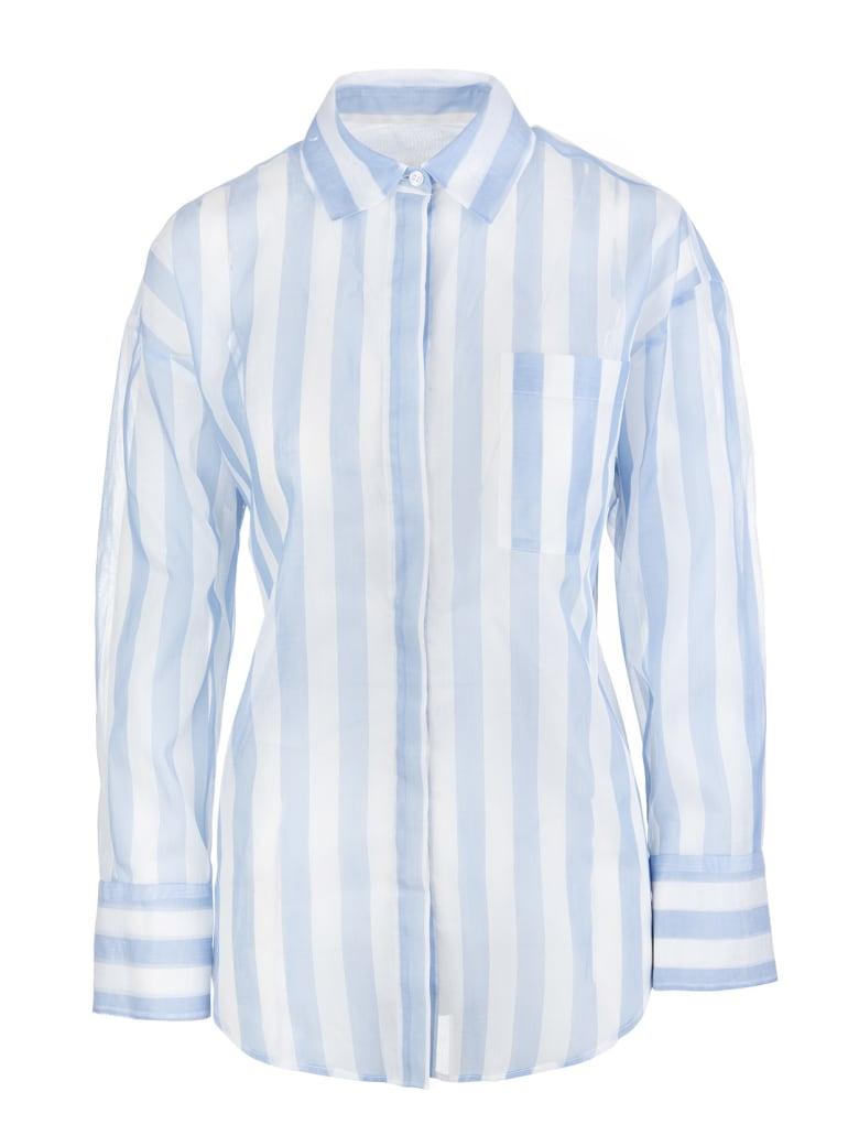 MSGM Striped Cotton Shirt - Bianco/celeste