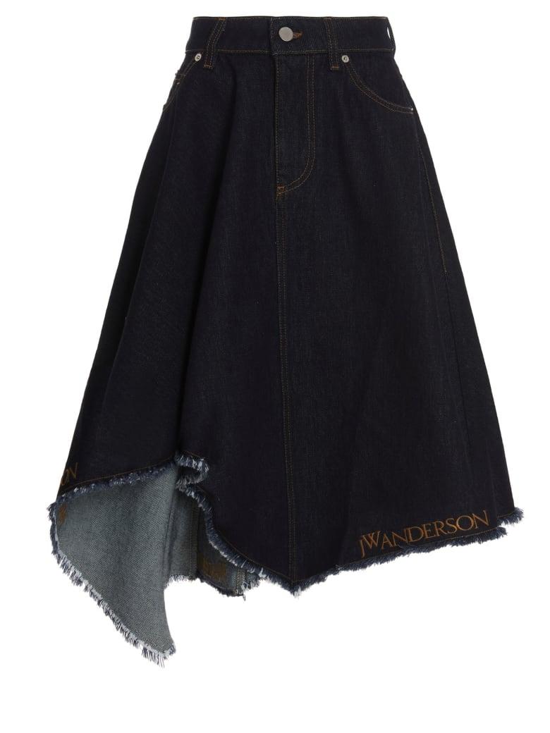 J.W. Anderson Asymetrical Logo Skirt - Blue