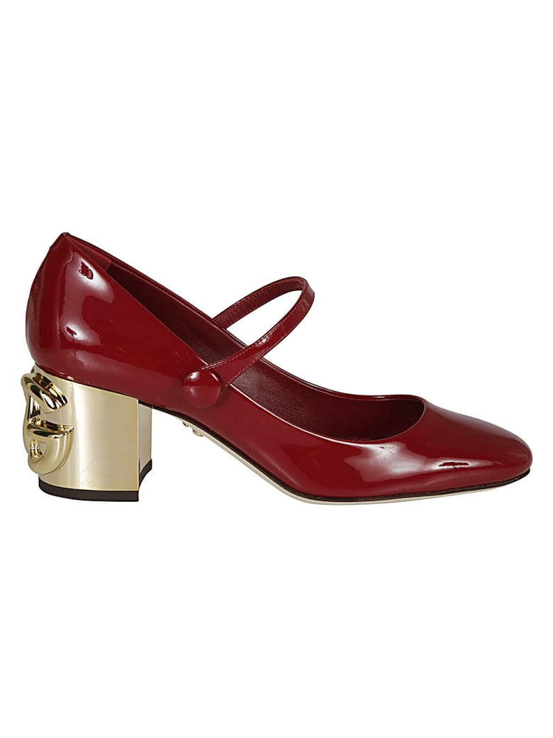 Dolce & Gabbana Embossed Logo Block Heel Pumps - Red/Gold