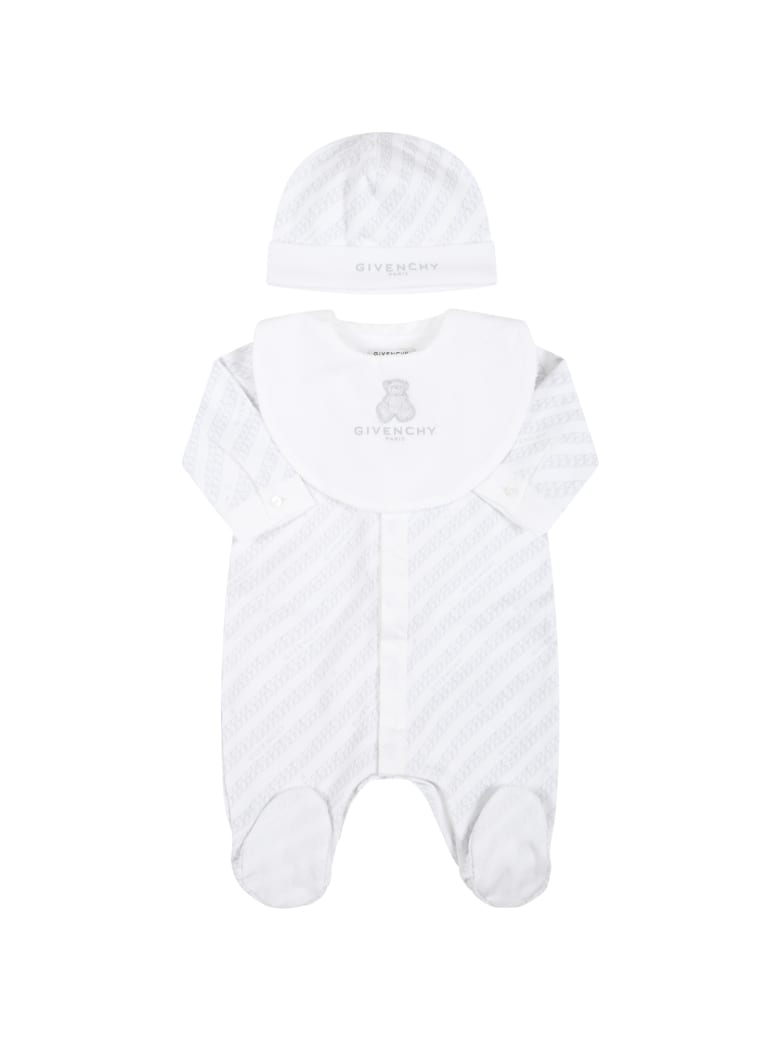 Givenchy White Set For Baby Kids With Logos - Grey