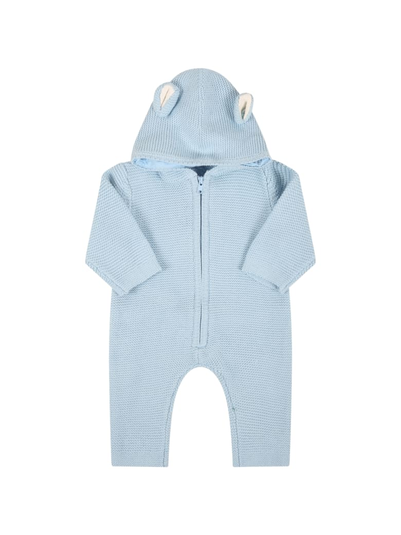 Stella McCartney Kids Light Blue Jumpsuit For Baby Boy With Bears Ears - Light Blue