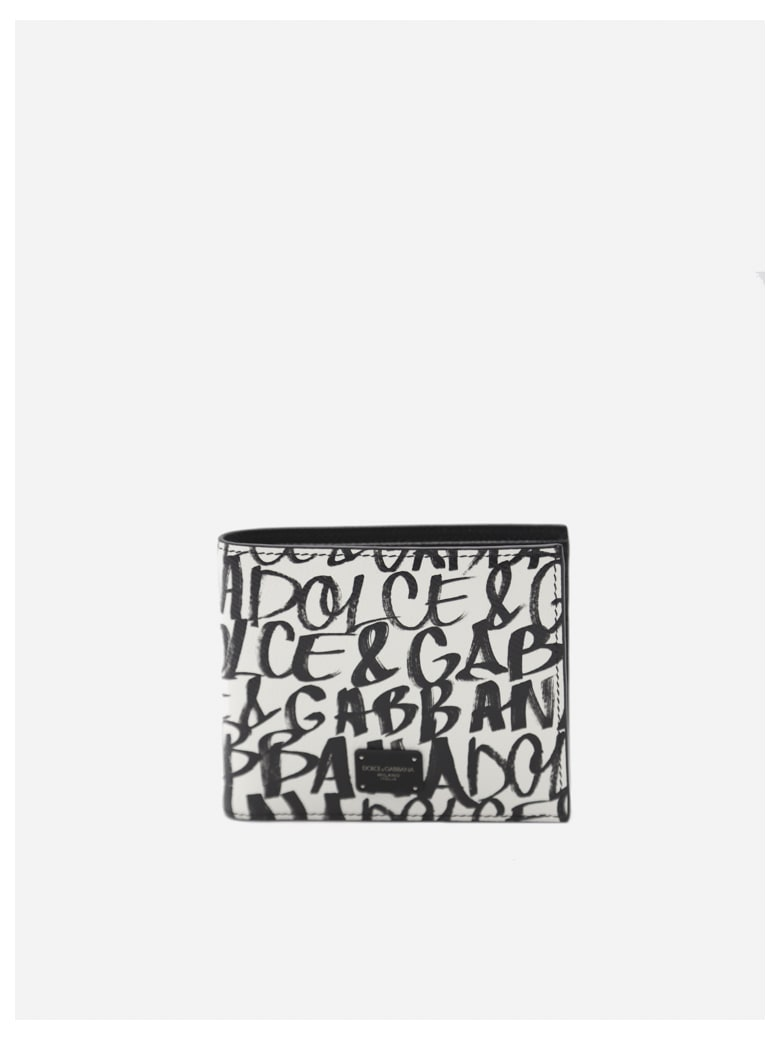 Dolce & Gabbana Leather Wallet With All-over Graffiti Print - White, black