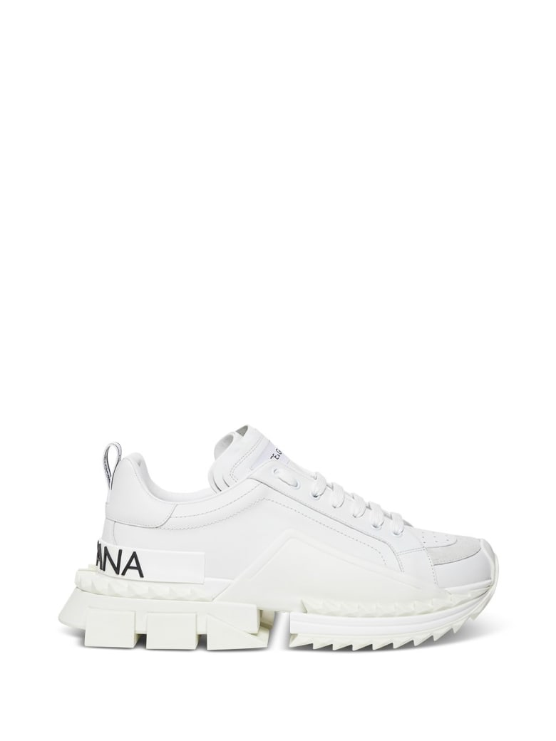 Dolce & Gabbana Chunkyn Leather Sneakers  With Logo - White