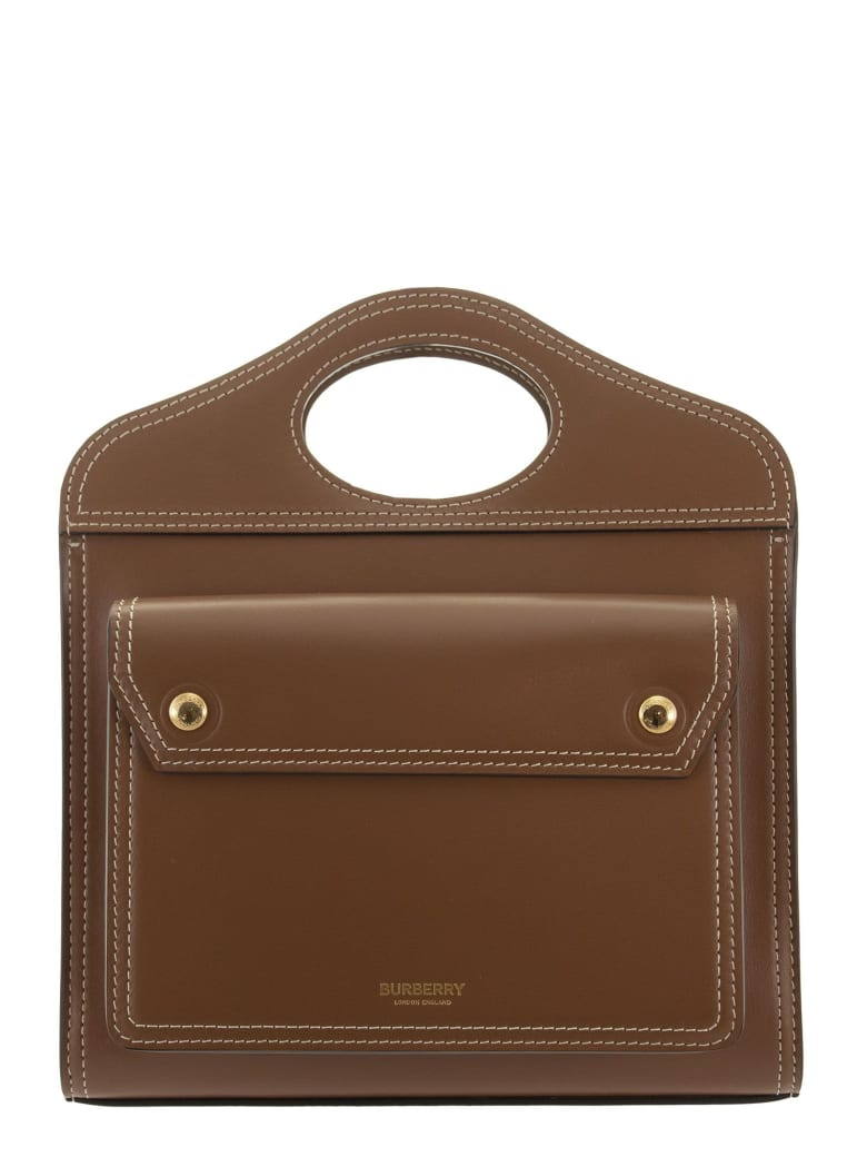 Burberry Mini Pocket Bag In Leather With Stitching - Brown