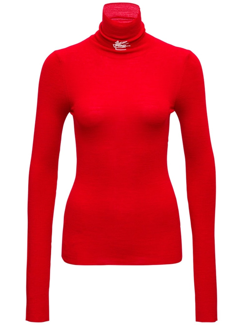 Etro Red Wool Turtleneck With Logo - Red