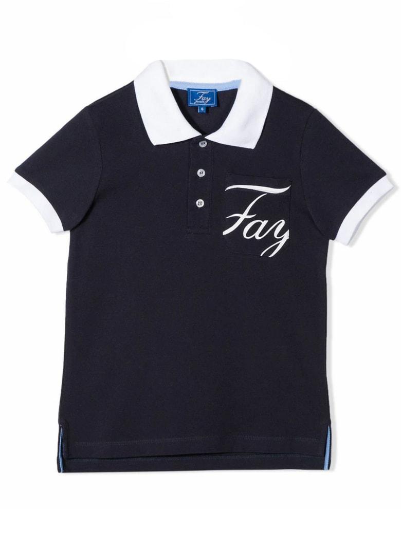 Fay Blue And White Cotton Polo Shirt - Blu