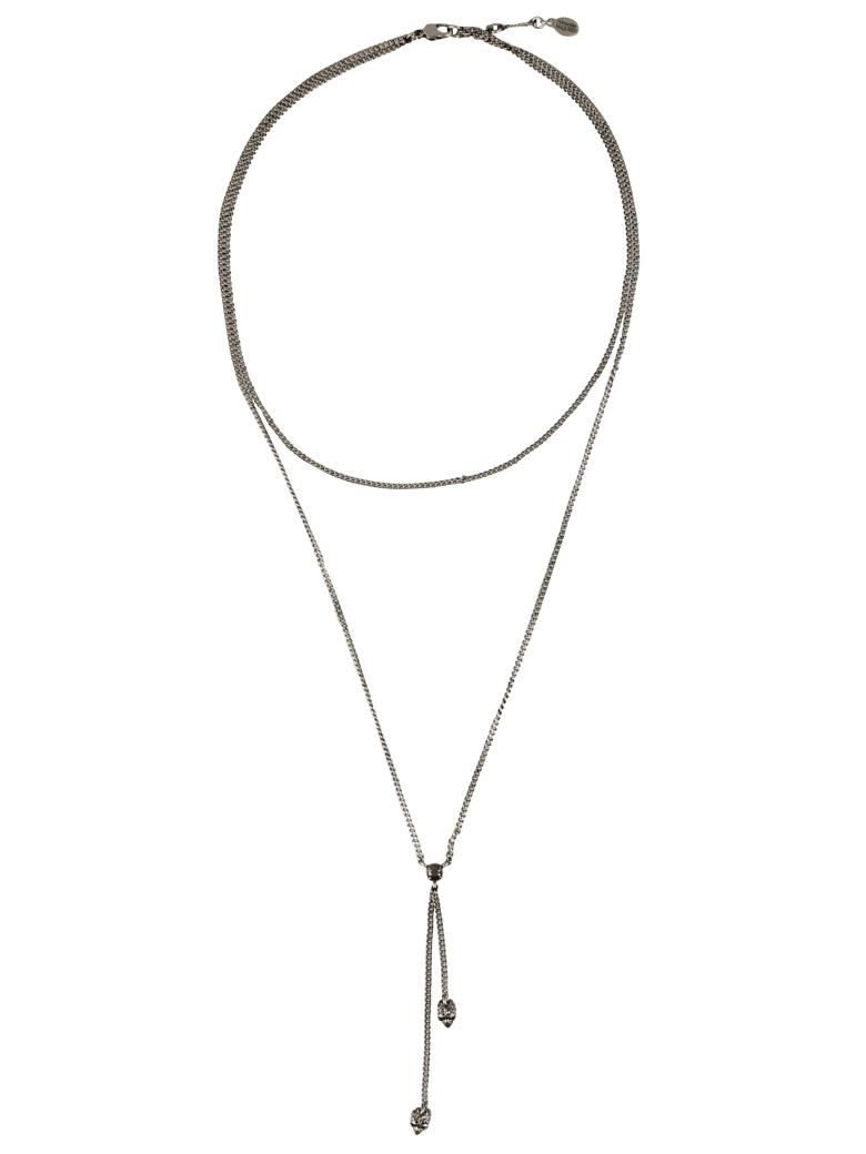 Alexander McQueen Double Wrap Skull Necklace - Silver