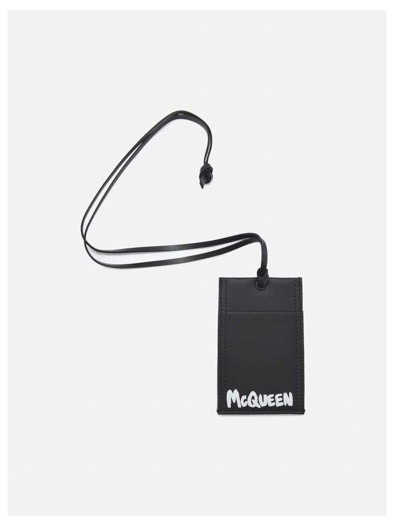 Alexander McQueen Graffiti Logo Print Leather Card Holder - Black