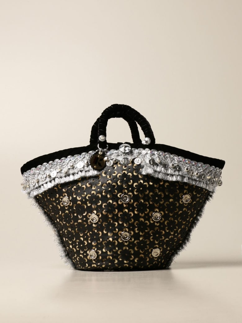 Sikuly Handbag Munita Sikuly Coffa Bag In Perforated Leather With Bells - Multicolor