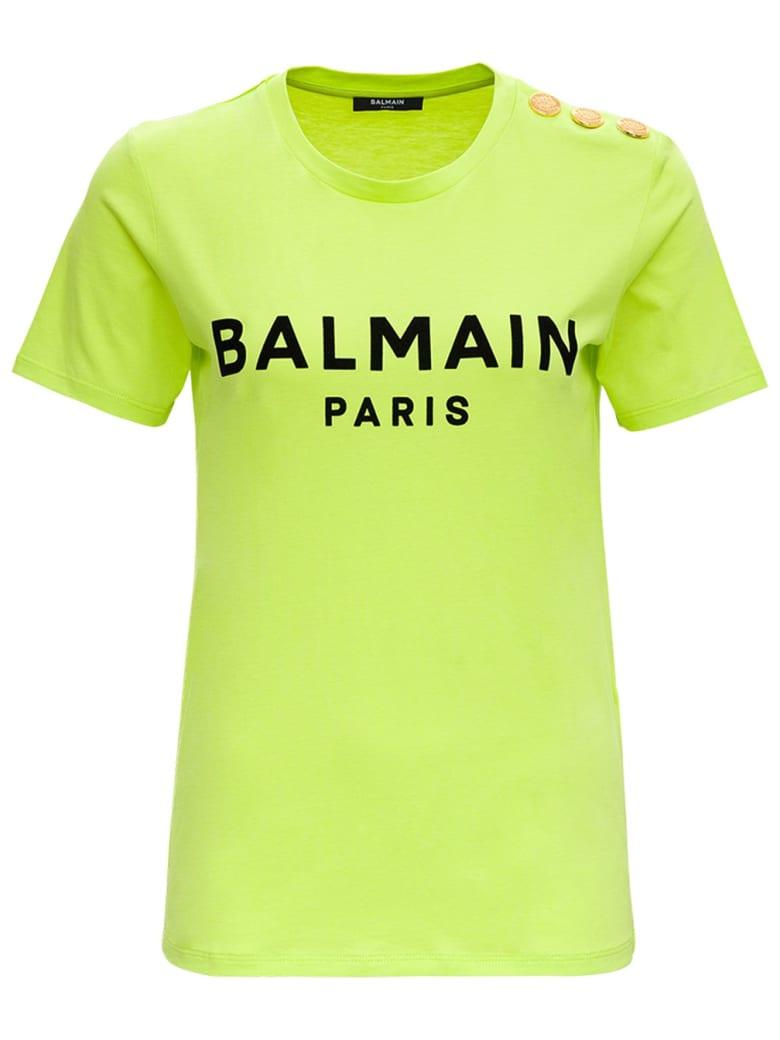 Balmain Fulo Jersey T-shirt With Logo - Verde