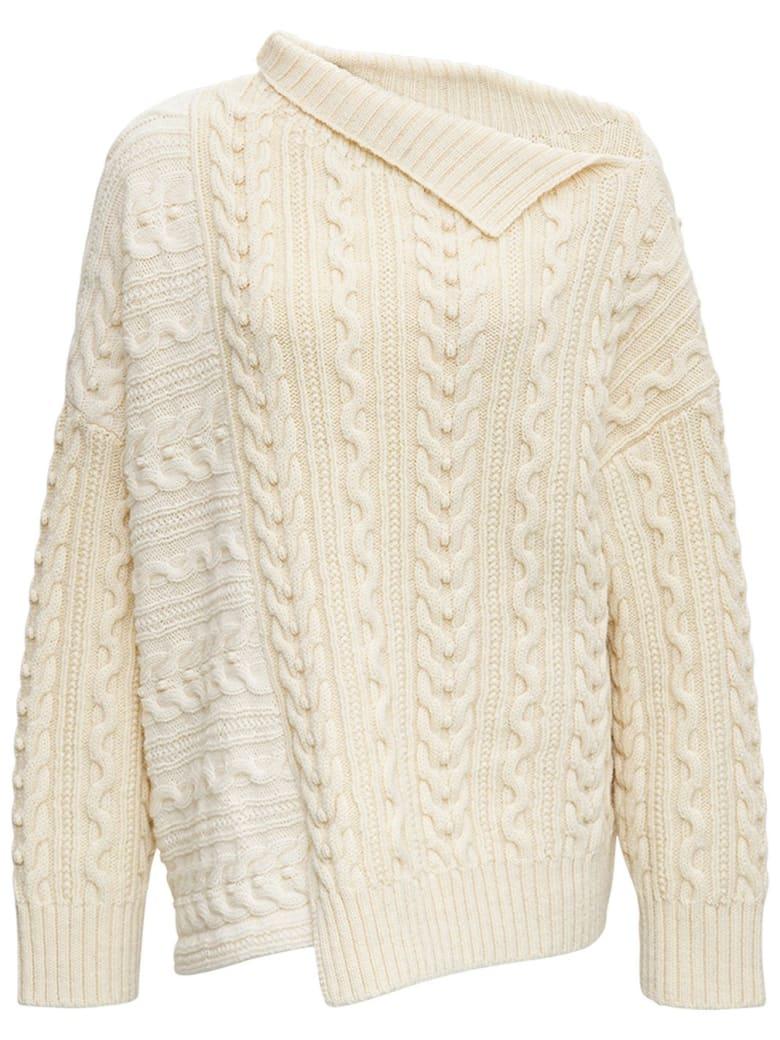 Philosophy di Lorenzo Serafini Braided Wool Sweater With Asymmetrical Collar - White