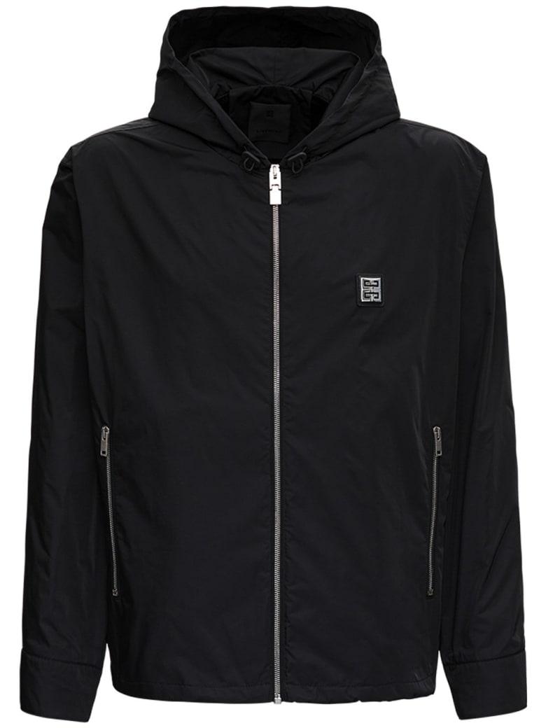 Givenchy Black Nylon Hooded Jacket With Logo - Black