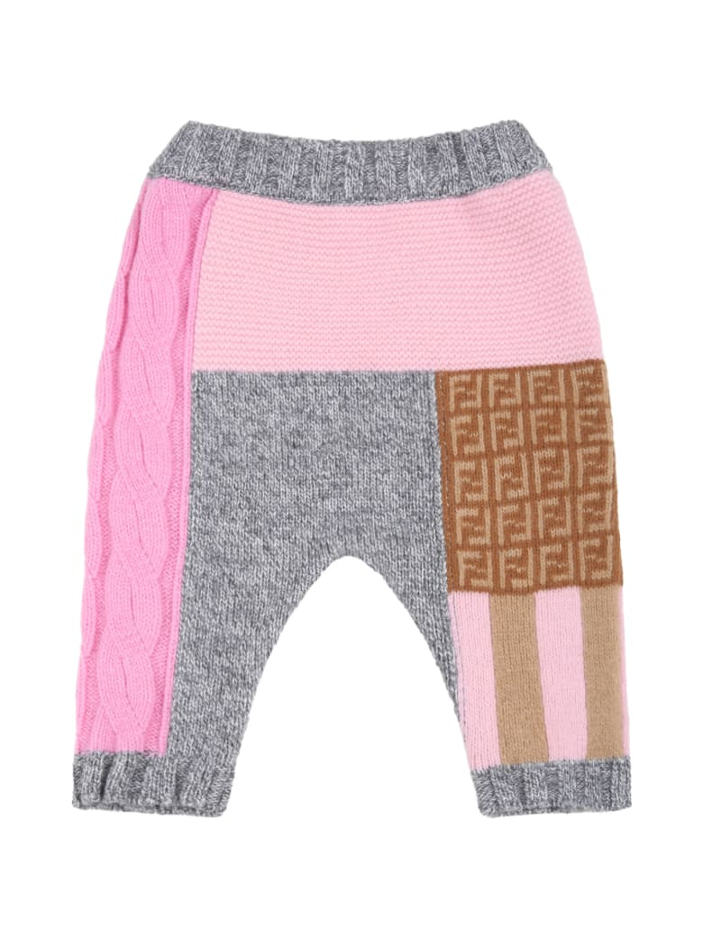 Fendi Multicolor Trouser For Baby Girl With Double Ff - Multicolor