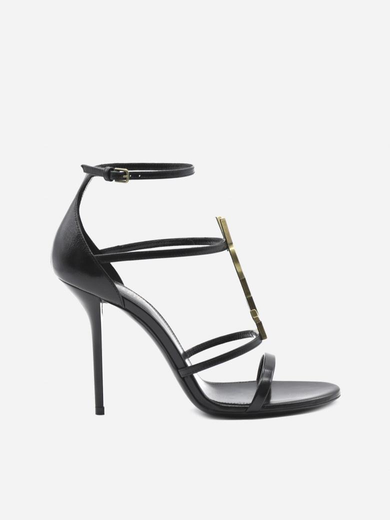 Saint Laurent Cassandra Sandals In Leather With Monogram - Black