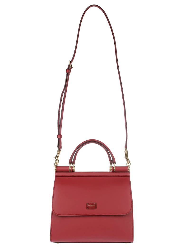 Dolce & Gabbana Red Leather Sicily Small Tote Bag - POPPY RED