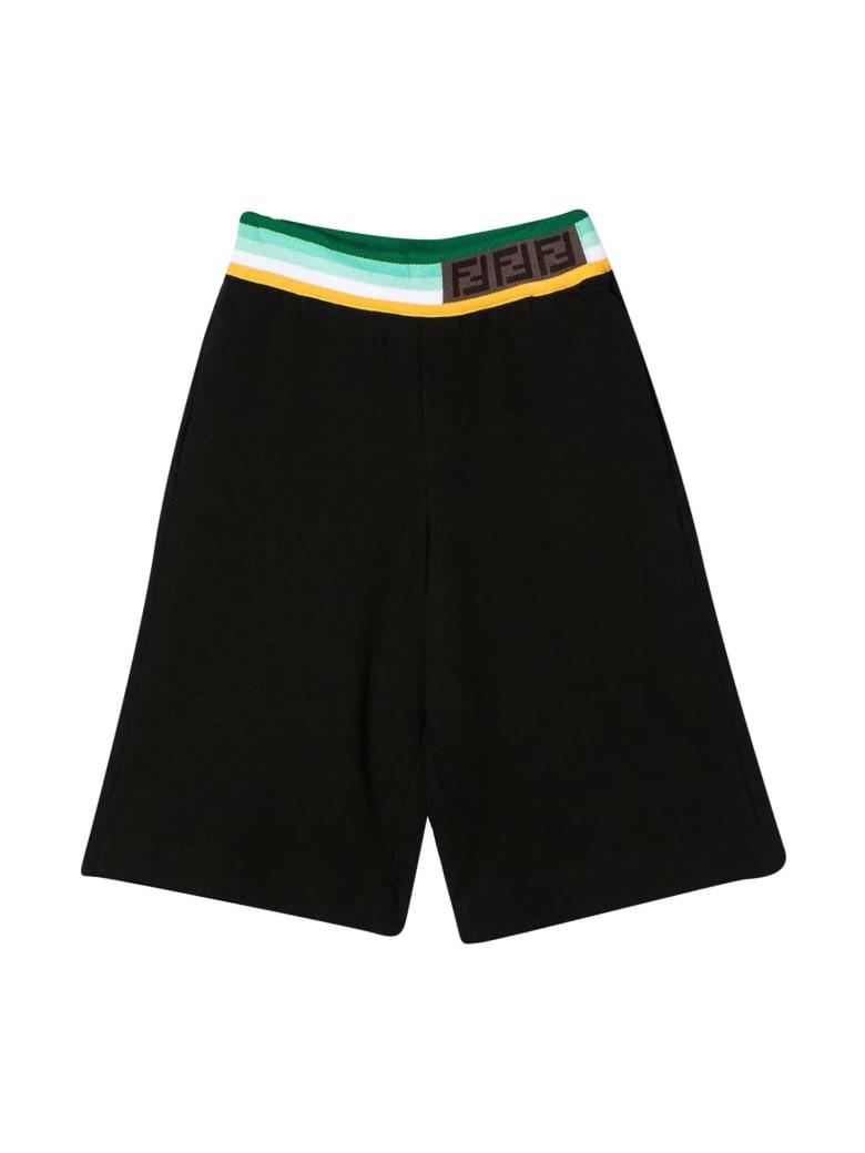 Fendi Black Bermuda Shorts With Multicolor Band - Nero/verde