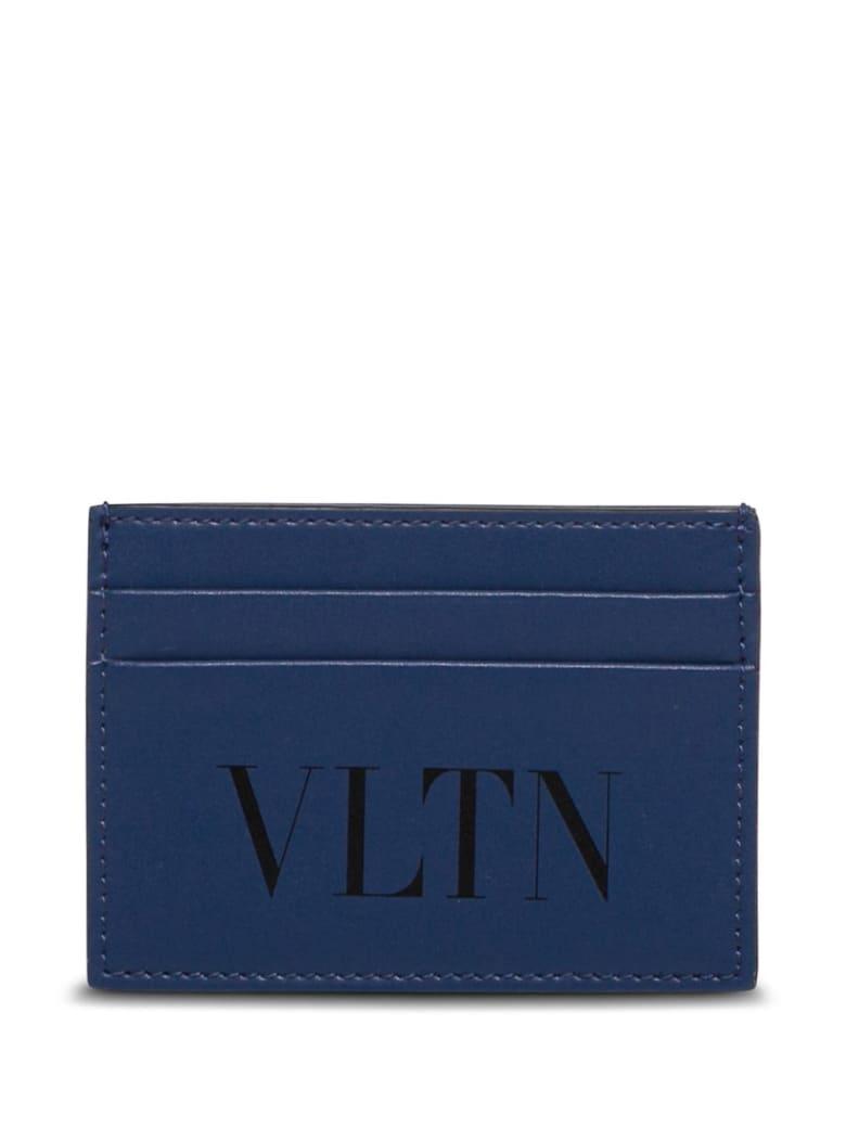 Valentino Garavani Vltn Card Holder In Blue Leather - Blu