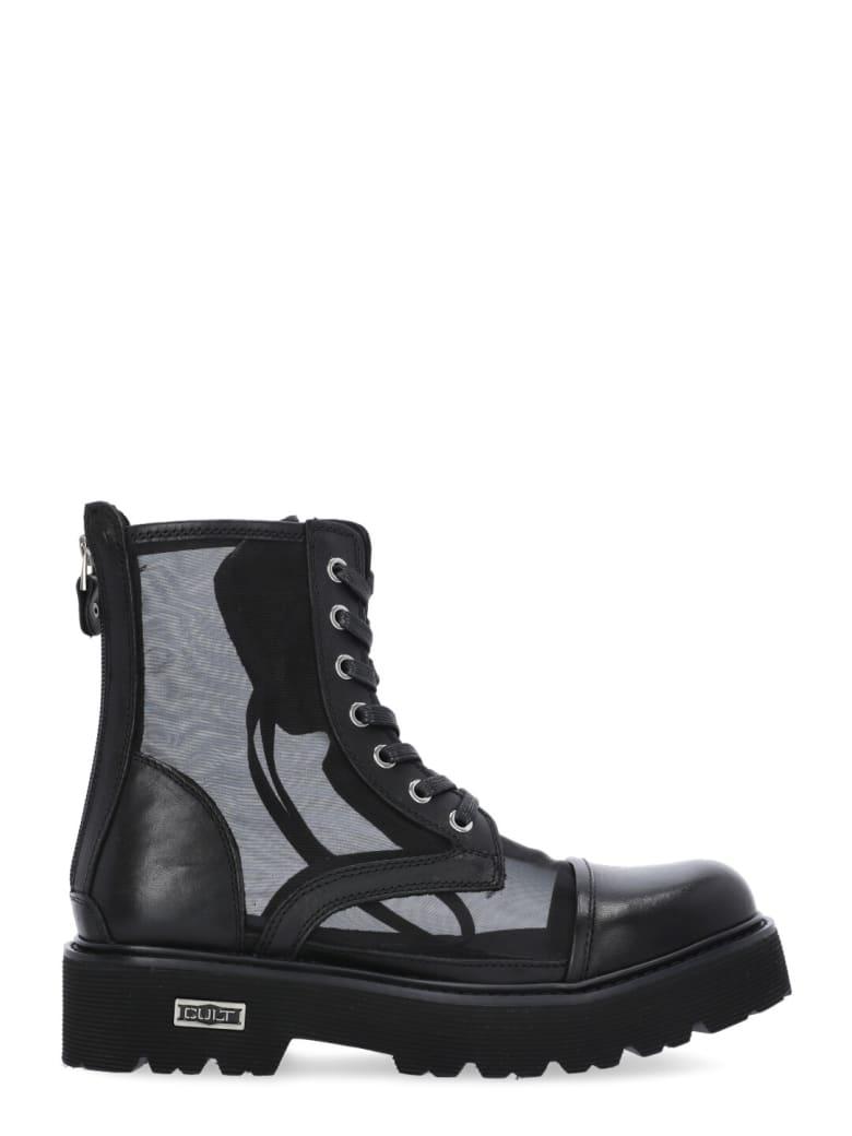Cult Leather Slash Sandal - BLACK