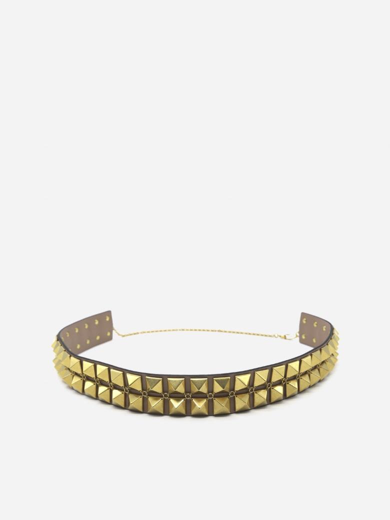 Valentino Garavani Rockstud Leather Belt - Taupe