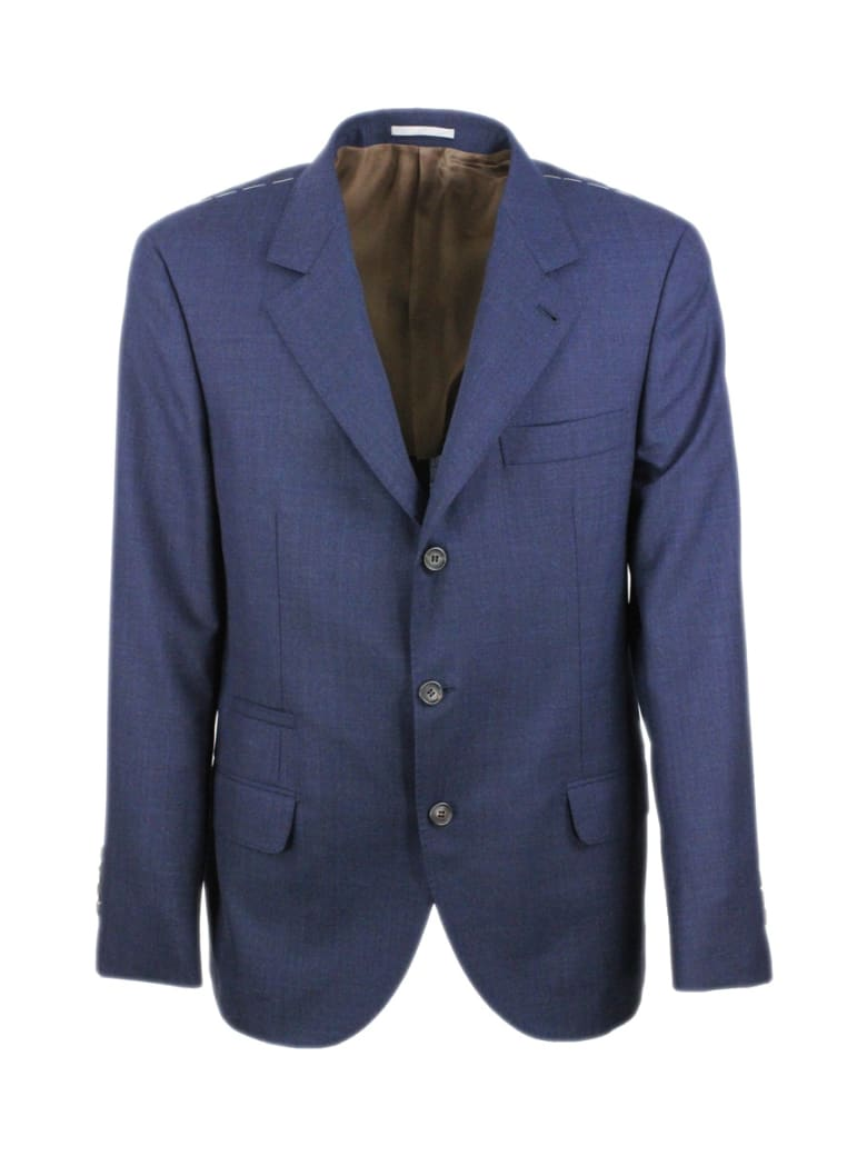 Brunello Cucinelli 3-button Unlined Jacket In Cool Wool Canvas.the Buttons Are In Brown Horn - Blu
