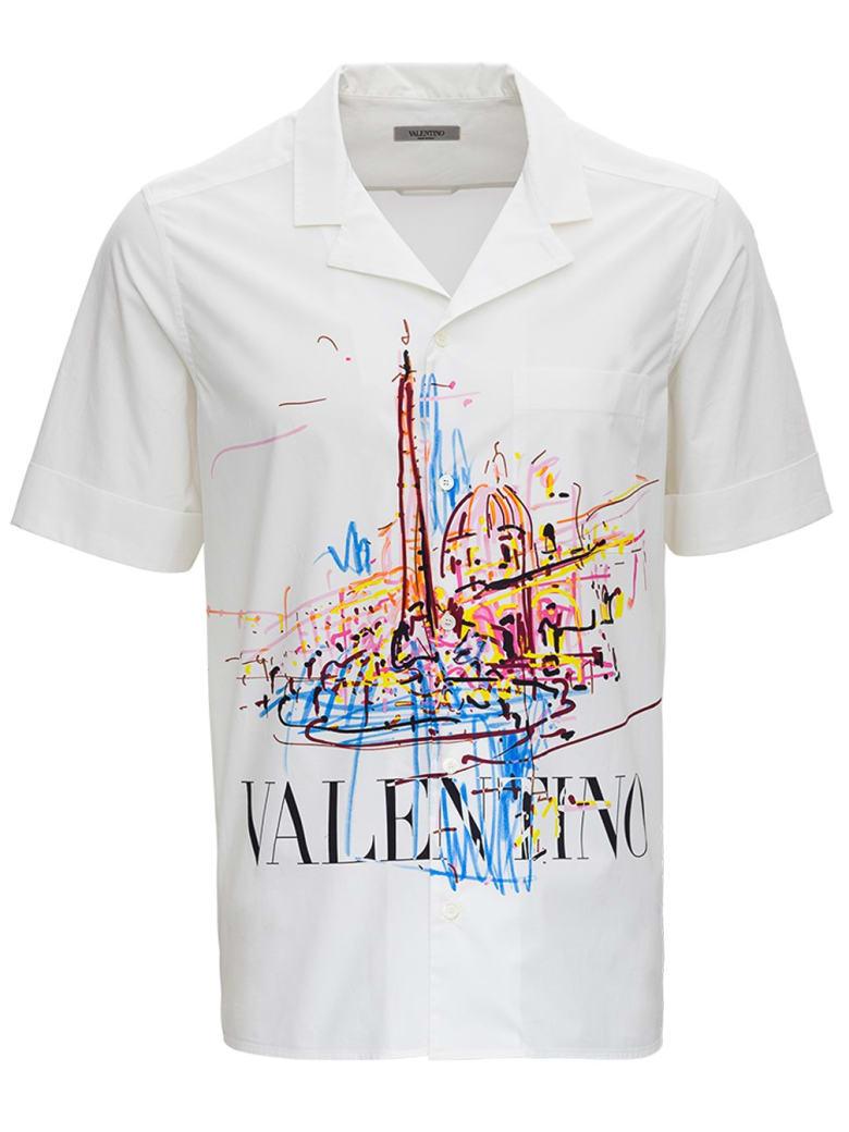 Valentino Short-sleeved Jersey Shirt With Logo Print - White